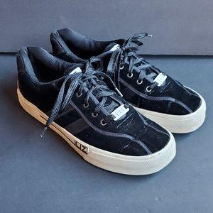 Liz Sport Black Velvet Sneakers Tennis Shoes 9.5